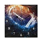 RELEESSS Horloge murale carrée en forme de ballon de rugby sans tic-tac silencieuse pour salle à manger, salon, chambre, cuisine, bureau, école