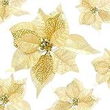 Evaner 12 flores artificiales de imitación con purpurina para árbol de Navidad, decoración de árbol de Navidad, decoración de ratán, decoración de árbol de Navidad