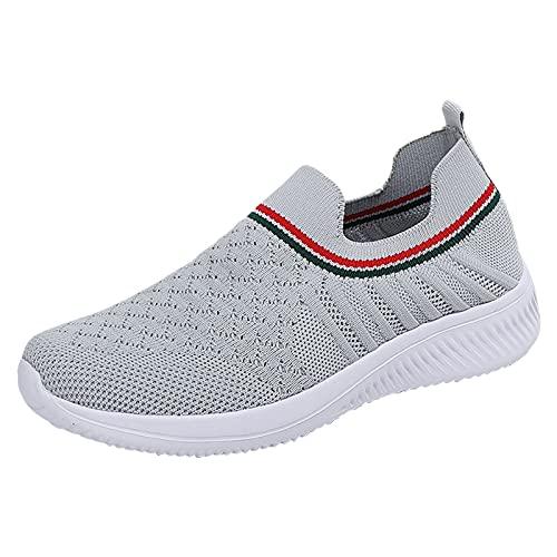 Zapatillas Deportivas Mujeres Zapatillas Casual Gimnasio Running Zapatos para Correr Transpirables Sneakers Ligeras y Transpirables Zapatos Deportivas(M04_Gray,41)