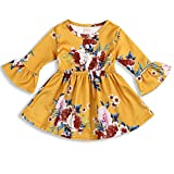 Toddler Infant Baby Girl Dress Floral Ruffle Flare 3/4 Sleeve Yellow Skirt Fall Clothes Set (2-3 Years, Yellow)