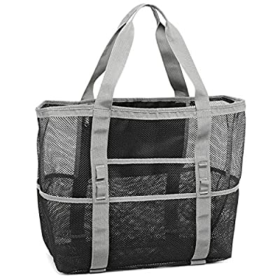 Packism Oversized Mesh Beach Bag 8 Pockets Beach Tote Travel Beach Toy Bag, Grey