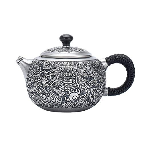 MNSSRN 999 Sterling Silver Teapot, Refined Embossed Tea, Household Tea Set, Retro Distressed, Built-in Filter Kettle