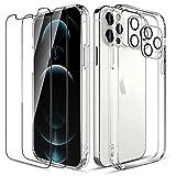 LK Custodia Posteriore Vetro Compatibile con iPhone 12 PRO 5G 6.1 Pollici, 2 Pezzi Pellicola Protettiva in Vetro Temperato & 2 Pezzi Pellicola Fotocamera, Protezione Cover-Trasparente