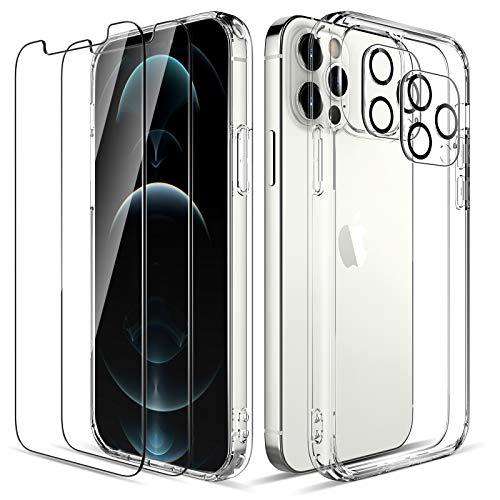 LK Compatible con iPhone 12 Pro 5G Cristal Templado Funda 6.1 Pulgadas, 2 Pack HD Cristal Protector de Pantalla y 2 Vidrio Templado Protector Lente Cámara, Transparente Case Cover