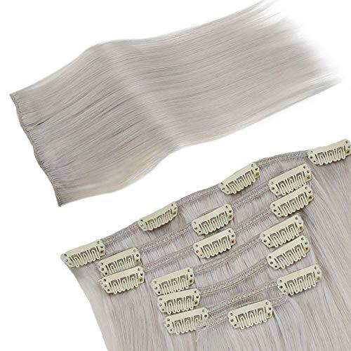 [30% Promoción + Envío Rápido] LaaVoo Clip in Human Hair Extensions Full Head 40cm 120GR/7PCS Remi Brasileno Extensiones de Clip de Pleo Natural Rubio Platino #60
