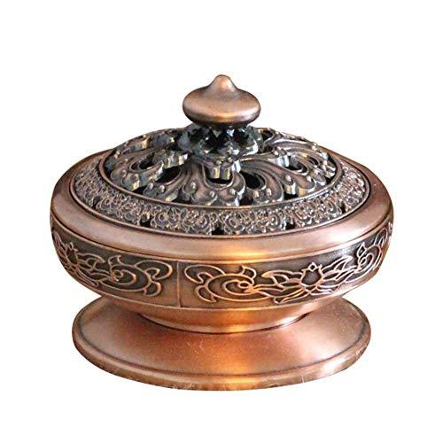 LSBXWL Titular de la Sala de Yoga portátil Budista Tibetano Decoración Quemador de Incienso de té Brasero aromaterapia aleación de Zinc Accesorios (Color : Red Copper)