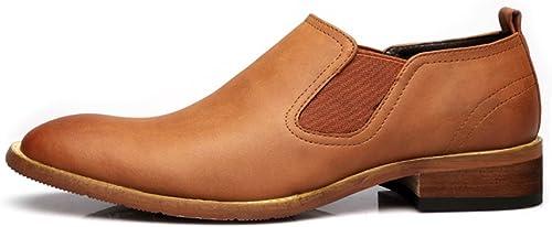 SCSY-Chaussures Oxford Oxford Chaussures à Enfiler décontractées pour Hommes Simples, Double Plaque Souple, Mat, Cuir véritable, Bloc, Talon, Semelle extérieure, Oxfords (Couleur   Marron, Taille   10MUS)  produit de qualité