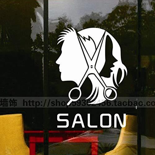 fdgdfgd Sex Mann Friseurinnen Dame Friseursalon Werkzeuge Wandaufkleber Haarschneiden Wandtattoo Friseur Schaufensterdekoration   Schaufensterdekoration   Fensterdekoration 58x73cm