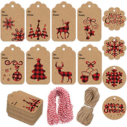 LOKIPA 120 Pieces Christmas Kraft Paper Gift Tags Hang Labels with Red and Black Plaid Snowflake Christmas Tree Elk Patterns and 230 Feet Twine Rope for Christmas