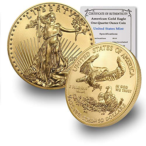 2020 1/4 oz Gold American Eagle BU In Coin Flip With CoinFolio COA $10 Brilliant Uncirculated