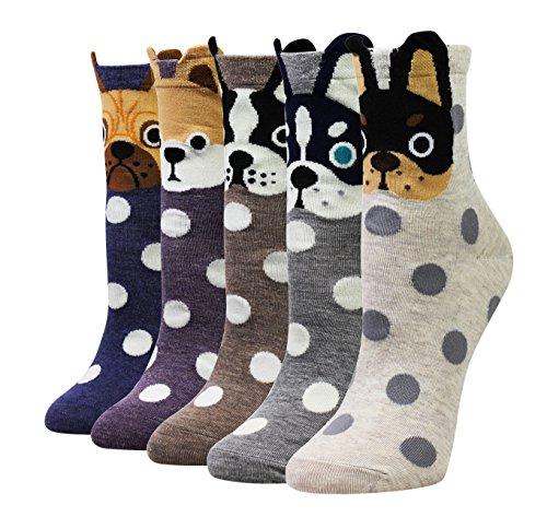 Wish Island Women's 5 Packs Cotton Crew Socks (Bull Dog)