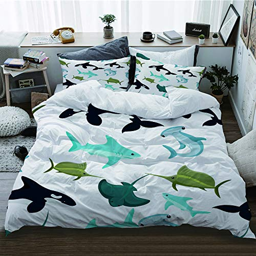 TARTINY duvet cover,Seamless pattern of hammerhead and blue shark sphyrna manta orca Decorative Living Room Design bedding set 3 piece + 2 pillowcases(220 * 260cm)