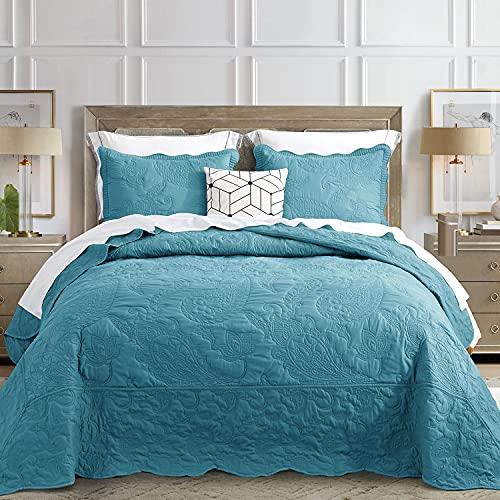HZundHY Tagesdecke in voller Größe, blau, Tagesdecke, leicht, dünn, wendbar, luxuriös, Matelasse, 3-teilig, 100 prozent Polyester, voll, blau