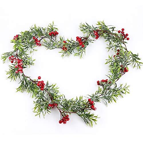 Tannengirlande künstlich Künstliche Weihnachtsgirlande Hängend Künstliche Tannengirlande Kiefer Girlanden mit Rote Beeren Weihnachtsdekorationen für Girlande Weihnachten Deko-Girlande Tannengrün
