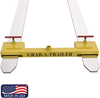 Dual Pallet Fork Attachment Clamp on Trailer Mover. for Forklifts, Tractors Skid Steers. by Grab-A-Trailer