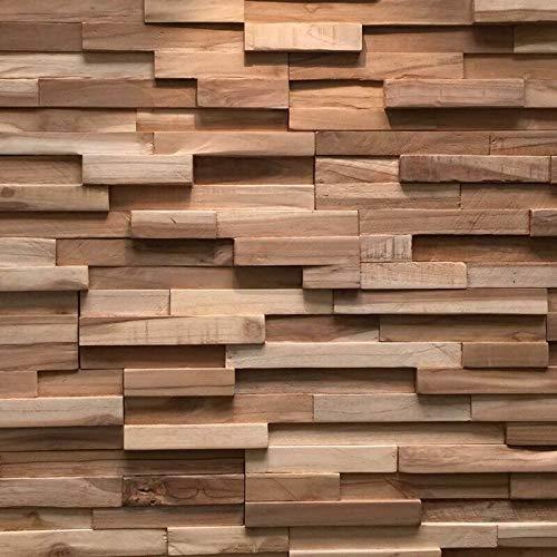 3D Holzpaneele / Holzverblender - Wandpaneele Holz für Wand - Ultrawood Wandverkleidung Innen - Haus, Wohnzimmer, Bett, TV usw. (Teak Firenze)