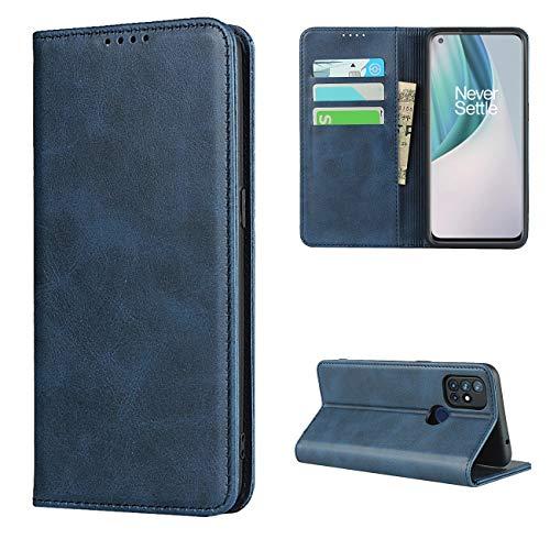 Copmob Hülle Oneplus Nord N10 5G,Premium Flip Leder Brieftasche Handyhülle,[3 Kartensteckplatz][Ständerfunktion][Magnetverschluss],Ledertasche Schutzhülle für Oneplus Nord N10 5G - Blau