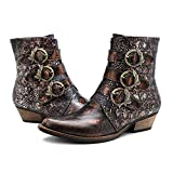 CrazycatZ Damen Stiefeletten mit Absatz Leder Cowgirl Stiefel Bohemian Embroidered Block Heel Leder Westernstiefel (42 EU, SW-3)