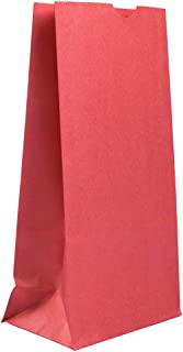 JAM PAPER Lunch Bags - Small - 4 1/8 x 8 x 2 1/4 - Red Kraft - 25/Pack