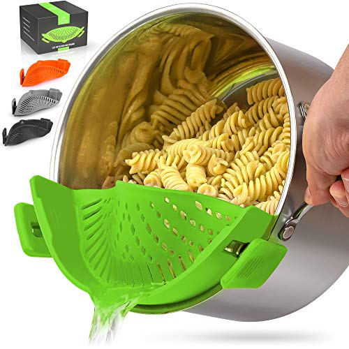Zulay Silicone Pot Strainer - Adjustable Snap On Strainer For Most Pots & Pans - Food Grade, Heat Resistant Pot Strainer Clip On Silicone Colander For Draining Pasta, Fruits, & Vegetables (Green)