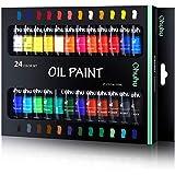 油絵の具 24色 Ohuhu 油絵具 12ml 鮮やか 色褪せない 優れた着色力 油彩絵具 オイルペイント チューブ 学習教材 画材 イラスト 数字油絵 DIY