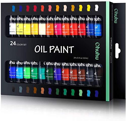 Ohuhu Set da Pittura ad Olio, 24 Tubetti da 12 ml, 24 Colori Vibranti a Base di Olio, Set per Artisti di Pittura ad Olio per Carta, Tela, Legno, Ceramica, Tessuto e Mestieri.