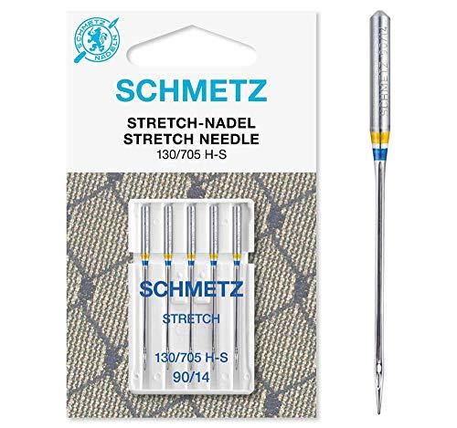 SCHMETZ Nähmaschinennadeln: 5 Stretch-Nadeln, Nadeldicke 90/14, 130/705 H-S, auf jeder gängigen Haushaltsnähmaschine einsetzbar, geeignet für die Verarbeitung von elastischen Stoffen