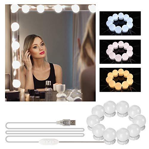 Luces de Espejo Maquillaje, mixigoo Luz de Tocador Luces de Maquillaje LED de Estilo Hollywood Luz de Maquillaje con 10 Bombillas Regulables 3 Modos de Color LáMpara de Espejo CosméTico de Tocador
