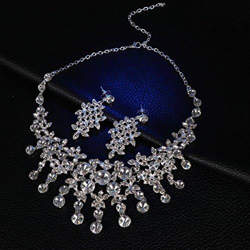 Lurrose bruidsketting en oorbellen bruiloft mode jurk omhoog kristallen ketting en oorbellen sieraden decoratie
