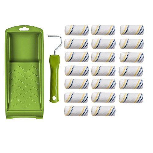 Lackier Set 20 x Nylon Heizkörperwalze 6cm, 1 x Bügel und 1 x Farbwanne