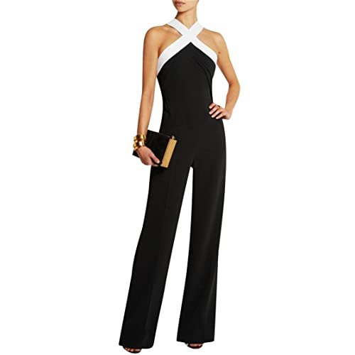ce8717572523 ISSHE Womens Cross Sleeveless Black Summer Jumpsuit Evening Playsuit
