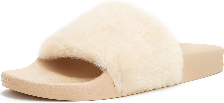 STILLIEVE Women's Fuzzy Faux Fur Slides