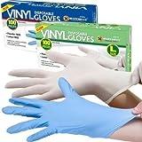 FARIL® - Guantes desechables de vinilo (100 unidades), de talla grande, sin polvo; color azul.