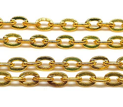 Perlin 3 Meter Gliederkette Link Kette Metallkette Oval 4mm, Gold und Silber Farbe, Schmuckkette Meterware zur Schmuckherstellung von Halsketten Armband DIY Basteln (Gold)