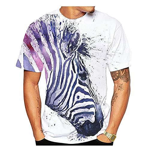 Camiseta con Estampado 3D de Cebra para Hombre, Moda 2021, Nuevo Verano, Cuello Redondo, Camisetas de Manga Corta, Tops