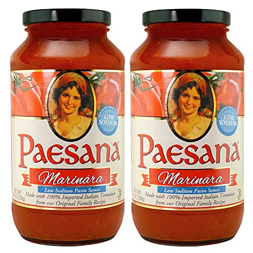 Paesana Low Sodium Marinara Pasta Sauce — Gluten Free, Vegan Friendly, Keto Friendly and made with 100% Imported Italian Tomatoes - Packed in the USA, 25 oz (2 Pack)