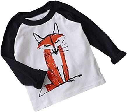 DaySeventh Baby Kids Boys Girls Long Sleeve Fox Cute Cotton T-Shirt Tops