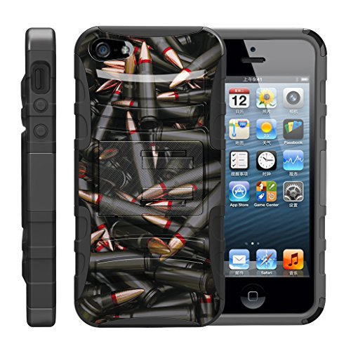 TurtleArmor | Compatible with Apple iPhone SE Case | iPhone 5/5s Case [Hyper Shock] Rugged Hybrid Hard Shell Kickstand Fitted Holster Clip Military War Robot Android - Black Bullets