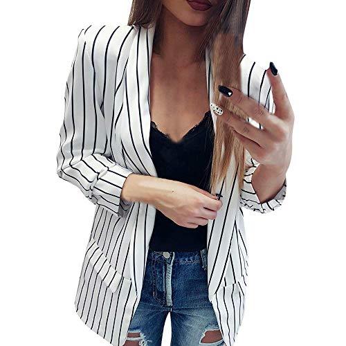 HX fashion Giacca da Donna Giacca Elegante da Donna Manica Lunga Taglie Comode da Donna a Righe Spolverino Cappotto Cappotto da Lavoro Casual Cardigan (Color : Bianca, Taglia Unica : XL)