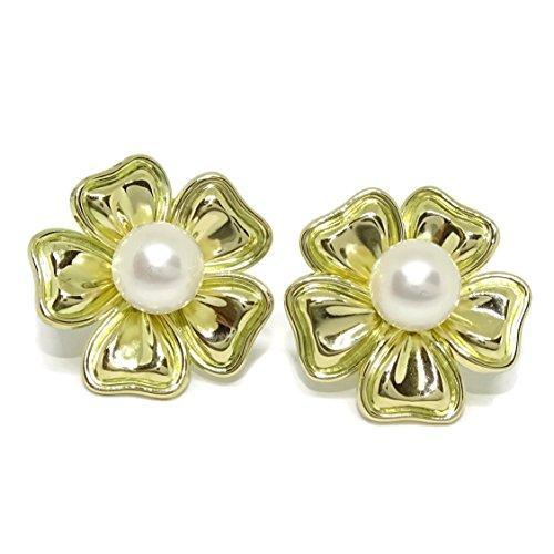 Pendientes de oro amarillo de 18k de flor con perla cultivada de 8mm. Cierre omega