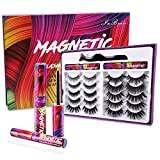 Magnetic Lashes Kit , 10 Pairs Reusable 3D 5D Magnetic Eyelashes Set with 2 Dazzling colors Magnetic Eyeliner and Tweezer, Mink False Eyelashes Natural Look, No Glue Needed