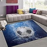 Naanle Wassertropfen-Teppich, Fußball, rutschfest, für Wohnzimmer, Esszimmer, Schlafzimmer, Küche, 50 x 80 cm, Polyester, multi, 100 x 150 cm(3' x 5')
