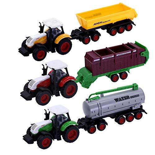 Camiones de Transporte de Juguetes con Remolque, 21.3 cm de Metal Fundido a presión Vehículos de Juguete Tractor agrícola con Remolque de plástico ABS para niños de 3-14 años