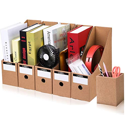 Stehsammler Recyceltem Karton Zeitschriftenbox 5er Packung Datei Organizer Kraftpapier Aktenhalter Bürobedarf Zeitschriftenhalter Schreibtisch Speicherorganisator (Kraftpapier)