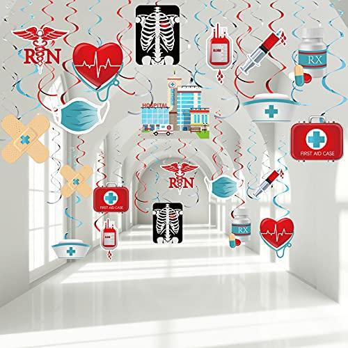 30 Piezas Decoraciones de Fiesta de Enfermero, Serpentinas Remolino Colgante de Techo de Papel de Aluminio de Graduación de Enfermera Rojo y Azul