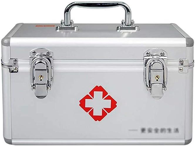 WEIFAN-1 Boîte de Premiers Soins portable, avec poignée 2 Couches Kit de RangeHommest médical, pour Le Domicile et Le Lieu de Travail (Argent   12 Pouces)
