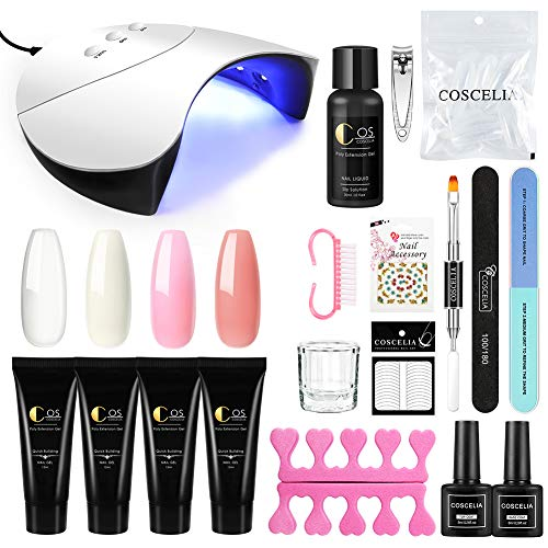 Coscelia Nail Poly Building UV Gel de Extension 15ml 4pcs Kit de Gel Construcción Lámpara Secador de Uñas con 3 Temporizadores Base Coat Top Coat Manicura Pedicura Kit