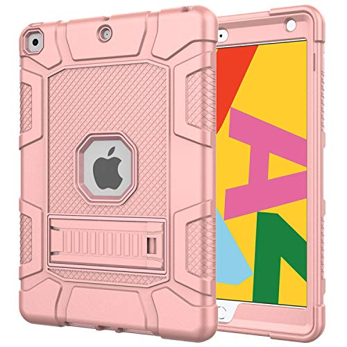 Azzsy iPad 7th Generation Case,iPad 10.2 2019 Case, Slim Heavy Duty Shockproof Rugged High Impact Protective Case for iPad 7th Generation 10.2 inch 2019 Release (Rose Gold)