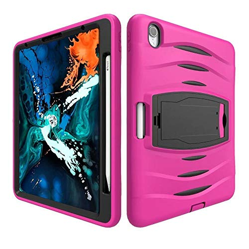QiuKui Tab Cover For iPad Pro 12.9 2018, Shockproof Tablet Case Heavy Duty Cover Silicone PC Pencil Holder Kids Case For iPad Pro 12.9 2018 (Color : Rose)