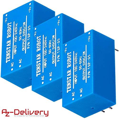 AZDelivery ⭐⭐⭐⭐⭐ 3 x 220V a 5V Fuente de alimentación Mini para Arduino y Raspberry Pi
